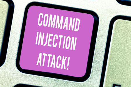 Handwriting text Command Injection Attack. Concept meaning execution of arbitrary comanalysisds on the host OS Keyboard key Intention to create computer message pressing keypad idea
