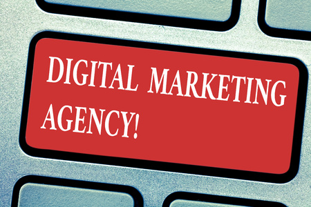Conceptual hand writing showing Digital Marketing Agency. Business photo text Helps business engage with exact target audiences Keyboard key Intention to create computer message idea