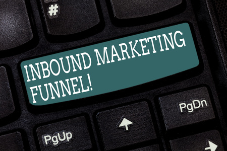 Handwriting text writing Inbound Marketing Funnel. Concept meaning process of attracting a large amount of prospects Keyboard key Intention to create computer message pressing keypad idea 版權商用圖片 - 115115927