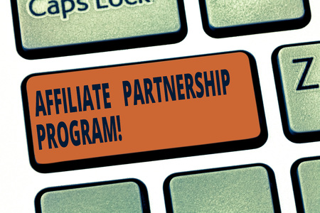 Handwriting text Affiliate Partnership Program. Concept meaning jointly promote each others products Keyboard key Intention to create computer message pressing keypad idea Archivio Fotografico
