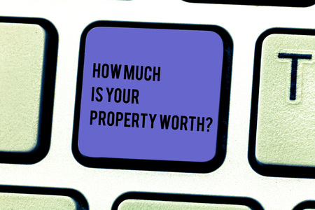 Writing note showing How Much Is Your Property Worth question. Business photo showcasing Establish the price of properties Keyboard key Intention to create computer message pressing keypad idea 免版税图像