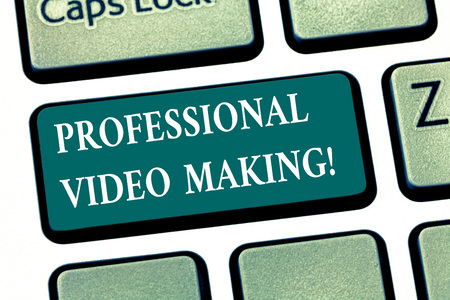 Writing note showing Professional Video Making. Business photo showcasing Filmmaking Images digitally recorded by an expert Keyboard key Intention to create computer message pressing keypad idea Imagens