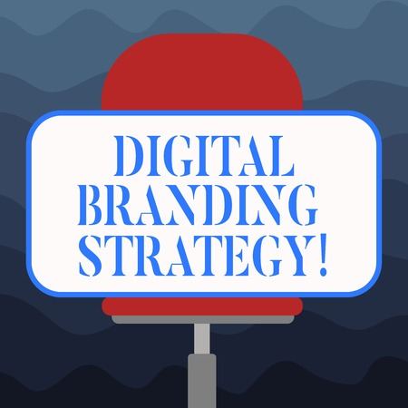Writing note showing Digital Branding Strategy. Business photo showcasing develop a brand over a range of digital venues Blank Rectangular Shape Sticker Sitting Horizontally on a Swivel Chair