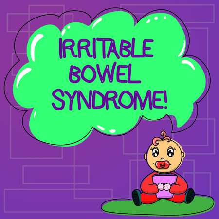 Handwriting text Irritable Bowel Syndrome. Concept meaning Disorder involving abdominal pain and diarrhea Baby Sitting on Rug with Pacifier Book and Blank Color Cloud Speech Bubble