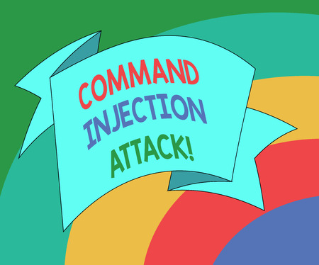 Conceptual hand writing showing Comanalysisd Injection Attack. Business photo showcasing execution of arbitrary comanalysisds on the host OS Folded Ribbon Strip Solid Color Sash photo for Celebration