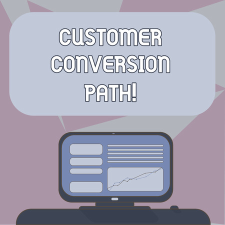 Writing note showing Customer Conversion Path. Business photo showcasing steps that user went through over the website Mounted Computer Screen with Line Graph on Desk Blank Color Text Box Reklamní fotografie