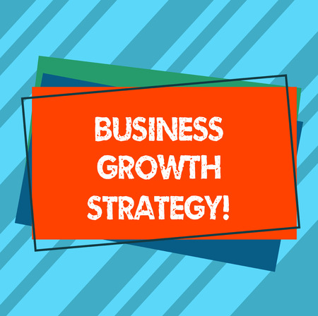 Writing note showing Business Growth Strategy. Business photo showcasing Larger market share Market penetration Acquisition Pile of Blank Rectangular Outlined Different Color Construction Paper