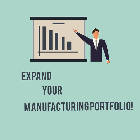 Handwriting text Expand Your Manufacturing Portfolio. Concept meaning Make a bigger catalog of products Man in Business Suit Standing Pointing a Board with Bar Chart Copy Space Imagens