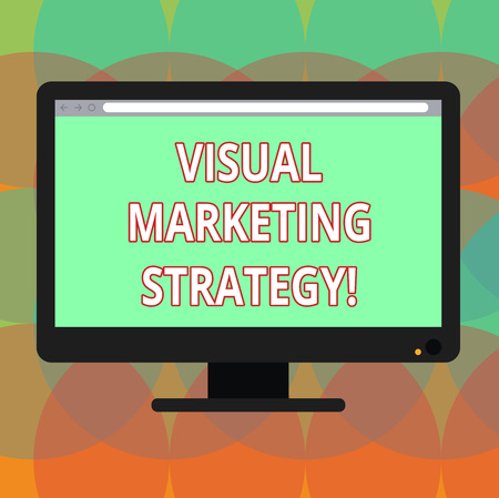 Word writing text Visual Marketing Strategy. Business concept for connecting marketing messages into images Blank Computer Desktop Monitor Color Screen Mounted with Progress Bar
