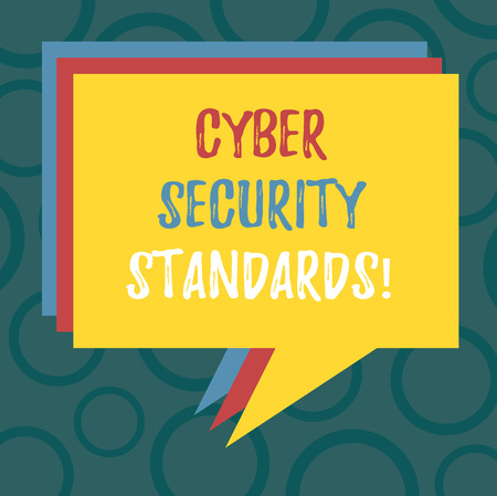 Writing note showing Cyber Security Standards. Business photo showcasing Rules for organizational info security standards Stack of Speech Bubble Different Color Piled Text Balloon 免版税图像