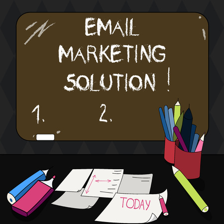 Text sign showing Email Marketing Solution. Conceptual photo helping customers to solve their problems Mounted Blank Color Blackboard with Chalk and Writing Tools Sheets on Desk