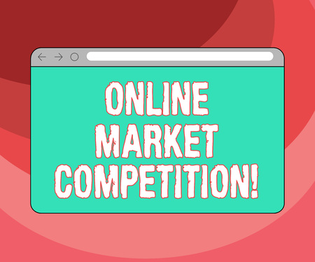 Text sign showing Online Market Competition. Conceptual photo Rivalry between companies selling same product Monitor Screen with Forward Backward Progress Control Bar Blank Text Space