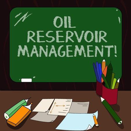 Word writing text Oil Reservoir Management. Business concept for analysisaging the recovery of natural gas from rock Mounted Blank Color Blackboard with Chalk and Writing Tools Sheets on Desk Reklamní fotografie