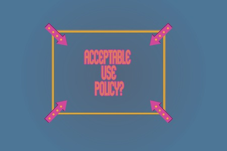 Conceptual hand writing showing Acceptable Use Policyquestion. Business photo text set of rules applied by the owner of a network Square Outline with Corner Arrows Pointing on Color Background