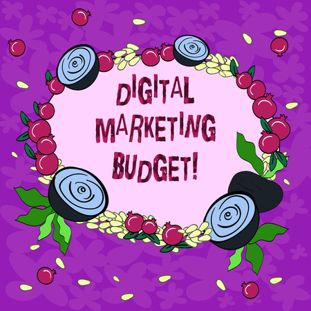 Conceptual hand writing showing Digital Marketing Budget. Business photo showcasing Cost that will be required to promote products Floral Wreath made of Tiny Seeds Small Glossy Pomegranate 写真素材