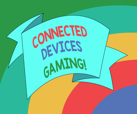 Conceptual hand writing showing Connected Devices Gaming. Business photo showcasing devices operate interactively and autonomously Folded Ribbon Strip Solid Color Sash photo for Celebration 스톡 콘텐츠