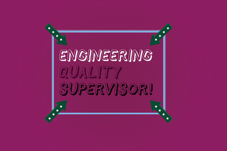 Word writing text Production And Maintenance Supervisor. Business concept for Industry control company engineer Square Outline with Corner Arrows Pointing Inwards on Color Background