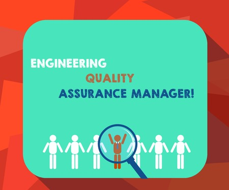 Word writing text Engineering Quality Assurance Manager. Business concept for Evaluation production control Magnifying Glass Over Chosen Man Figure Among the Hu analysis Dummies Line Up