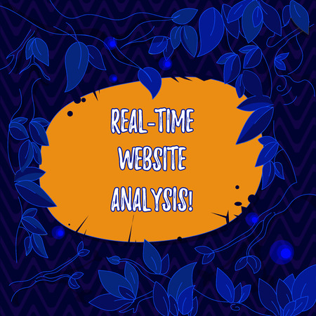 Word writing text Real Time Website Analysis. Business concept for able to be accessed as they come into a system Tree Branches Scattered with Leaves Surrounding Blank Color Text Space