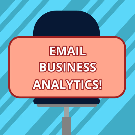 Text sign showing Email Business Analytics. Conceptual photo break down your open rate Engagement tracking Blank Rectangular Shape Sticker Sitting Horizontally on a Swivel Chair