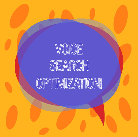 Conceptual hand writing showing Voice Search Optimization. Business photo text enhance web searching through spoken comanalysisds Blank Speech Bubble photo and Stack of Circle Overlapping