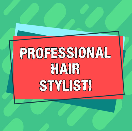 Word writing text Professional Hair Stylist. Business concept for A demonstrating whose occupation is to cut or style hair Pile of Blank Rectangular Outlined Different Color Construction Paper