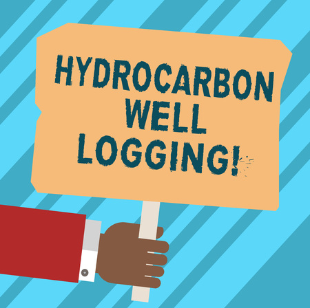 Word writing text Hydrocarbon Well Logging. Business concept for record of the geologic formations of a borehole Hu analysis Hand Holding Blank Colored Placard with Stick photo Text Space Reklamní fotografie