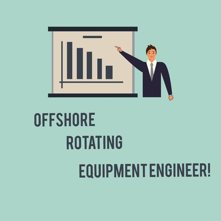 Handwriting text Offshore Rotating Equipment Engineer. Concept meaning Oil and gas industry engineering Man in Business Suit Standing Pointing a Board with Bar Chart Copy Space 版權商用圖片