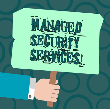 Text sign showing Managed Security Services. Conceptual photo approach in analysisaging clients security needs Hu analysis Hand Holding Blank Colored Placard with Stick photo Text Space 免版税图像