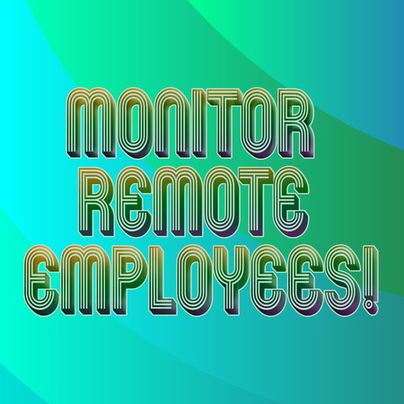 Writing note showing Monitor Remote Employees. Business photo showcasing Tracking the time spend by virtual employees Blank Diagonal Curve Strip Monochrome Color in Seamless Repeat Pattern
