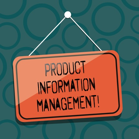Writing note showing Product Information Management. Business photo showcasing Managing the information required to market Blank Hanging Color Door Window Signage with String and Tack