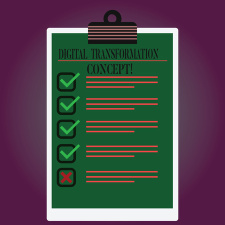 Handwriting text writing Digital Transformation Concept. Concept meaning Going paperless Use of digital technology Lined Color Vertical Clipboard with Check Box photo Blank Copy Space Stock Photo