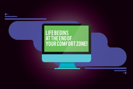 Word writing text Life Begins At The End Of Your Comfort Zone. Business concept for Make changes evolve grow Mounted Computer Monitor Blank Reflected Screen on Abstract Background