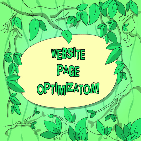Handwriting text Website Page Optimization. Concept meaning Increase its search engine visibility and reach Tree Branches Scattered with Leaves Surrounding Blank Color Text Space