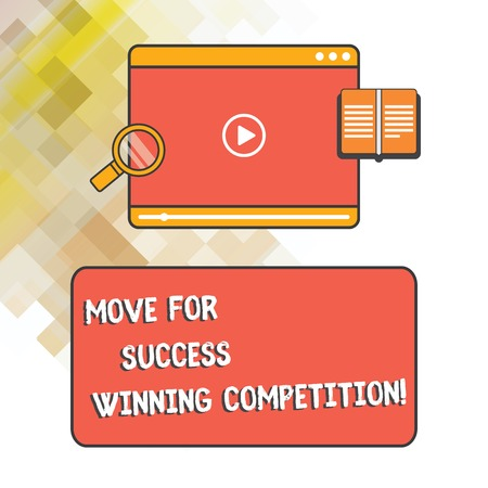 Word writing text Move For Success Winning Competition. Business concept for Make the right moves to win the game Tablet Video Player Uploading Downloading and Magnifying Glass Text Space