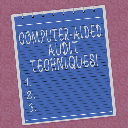 Writing note showing Computer Aided Audit Techniques. Business photo showcasing Using computer to automate IT audit process Lined Spiral Top Color Notepad photo on Watermark Printed Background Stock Photo