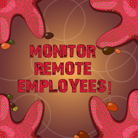 Text sign showing Monitor Remote Employees. Conceptual photo Tracking the time spend by virtual employees Starfish photo on Four Corners with Colorful Pebbles for Poster Ads Cards