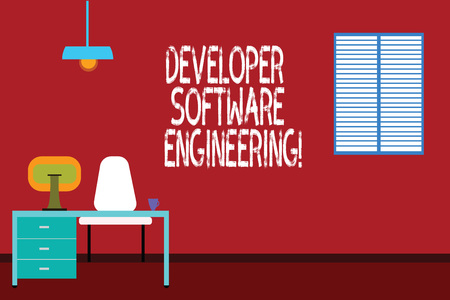 Text sign showing Developer Software Engineering. Conceptual photo Forming software base on engineering standard Work Space Minimalist Interior Computer and Study Area Inside a Room photo