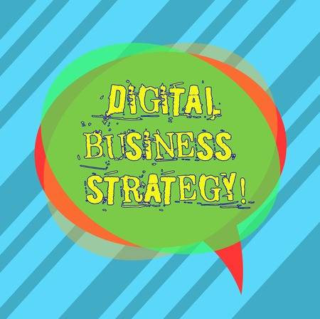 Writing note showing Digital Business Strategy. Business photo showcasing Plan for maximizing the business benefits Blank Speech Bubble photo and Stack of Transparent Circle Overlapping Stock fotó