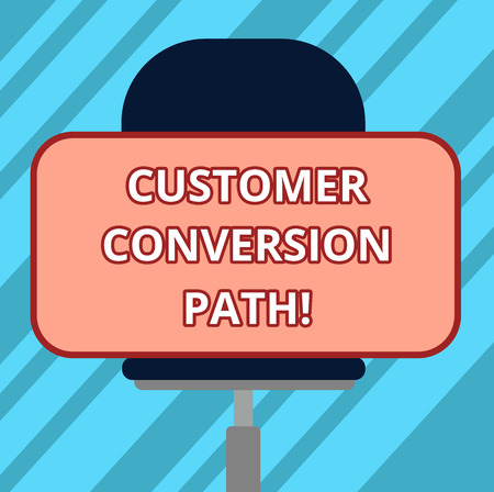 Text sign showing Customer Conversion Path. Conceptual photo steps that user went through over the website Blank Rectangular Shape Sticker Sitting Horizontally on a Swivel Chair Reklamní fotografie