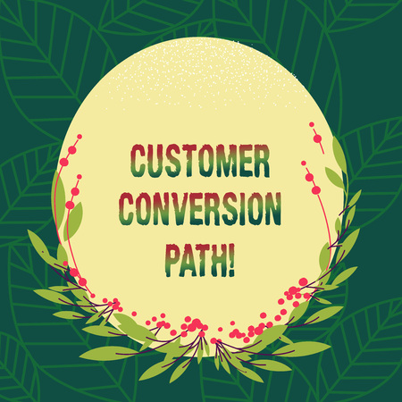 Conceptual hand writing showing Customer Conversion Path. Business photo showcasing steps that user went through over the website Blank Color Oval Shape with Leaves and Buds for Invitation Reklamní fotografie