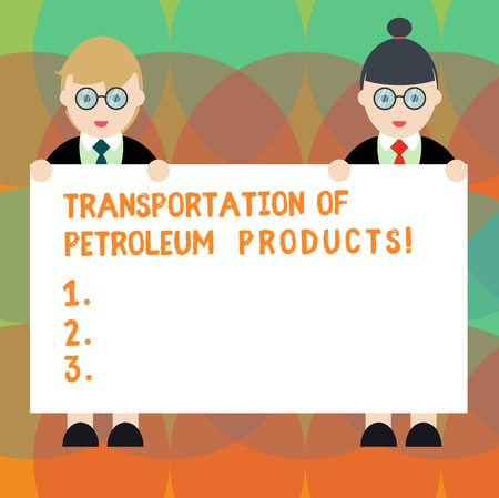 Word writing text Transportation Of Petroleum Products. Business concept for Oil and gas industry shipments Male and Female in Uniform Standing Holding Blank Placard Banner Text Space