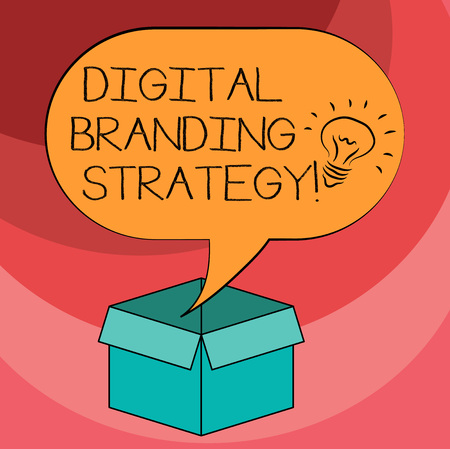 Text sign showing Digital Branding Strategy. Conceptual photo develop a brand over a range of digital venues Idea icon Inside Blank Halftone Speech Bubble Over an Open Carton Box