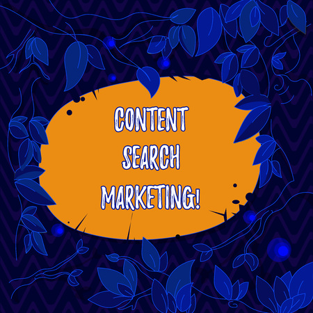 Word writing text Content Search Marketing. Business concept for promoting websites by increasing visibility search Tree Branches Scattered with Leaves Surrounding Blank Color Text Space