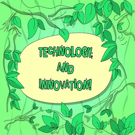 Handwriting text Technology And Innovation. Concept meaning Technological changes of products and services Tree Branches Scattered with Leaves Surrounding Blank Color Text Space Фото со стока