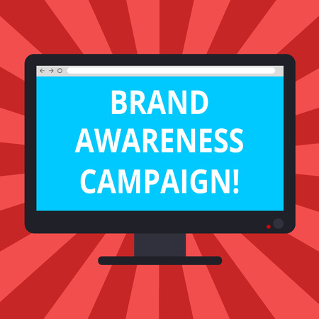 Conceptual hand writing showing Brand Awareness Campaign. Business photo text How aware consumers are with your products Blank Computer Monitor Color Screen Mounted with Progress Bar Banco de Imagens