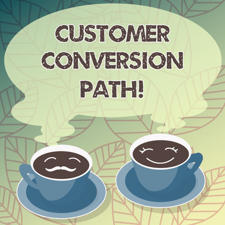 Conceptual hand writing showing Customer Conversion Path. Business photo text steps that user went through over the website Cup Saucer for His and Hers Coffee Face icon with Steam