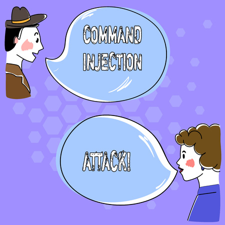 Conceptual hand writing showing Command Injection Attack. Business photo text execution of arbitrary comanalysisds on the host OS Hand Wo analysis Talking photo with Blank Color Speech Bubble