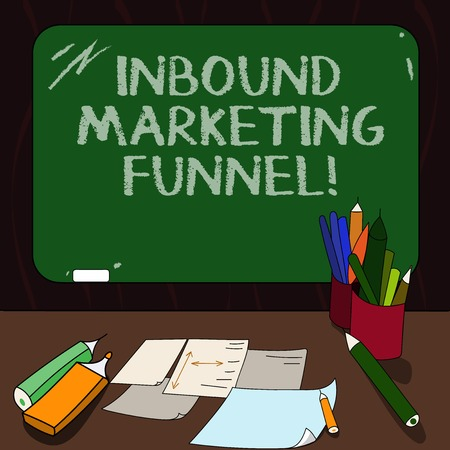 Word writing text Inbound Marketing Funnel. Business concept for process of attracting a large amount of prospects Mounted Blank Color Blackboard with Chalk and Writing Tools Sheets on Desk