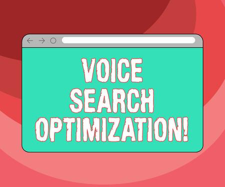 Text sign showing Voice Search Optimization. Conceptual photo enhance web searching through spoken comanalysisds Monitor Screen with Forward Backward Progress Control Bar Blank Text Space Reklamní fotografie
